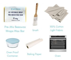 beeswax wraps diy - melt and brush method