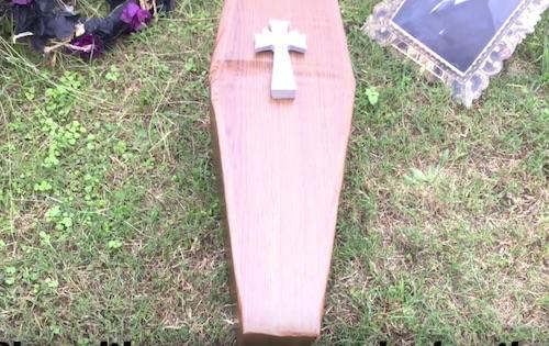Cardboard coffin dollar tree DIY halloween outdoor decoration