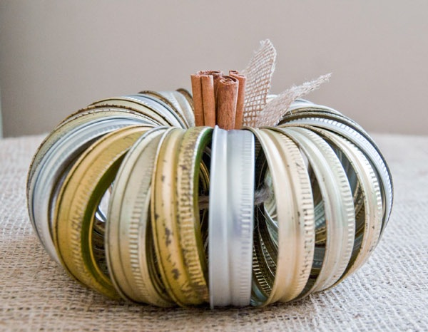 DIY Canning jar ring pumpkin halloween decor outdoor halloween decor homemade