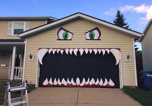 DIY Halloween Monster Garage Decoration Outdoor