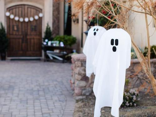 DIY halloween hanging ghost fabric outdoor decoration